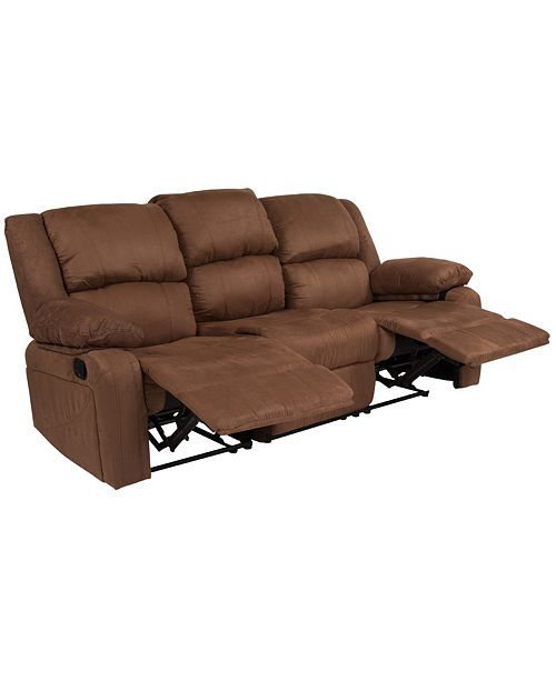 Marvelous Harmony Series Chocolate Brown Microfiber Sofa With Two Built In Recliners Uwap Interior Chair Design Uwaporg