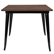 "36"" Square Black Metal Indoor Table With Walnut Rustic Wood Top"