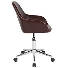 Cortana Home And Office Mid-Back Chair In Brown Leather