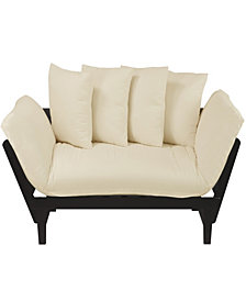 Casual Lounger Sofa Bed Espresso Frame With Ivory Fabric