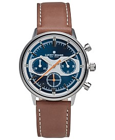 Lucky Brand Men's Fairfax Racing Tan Leather Strap Watch 40mm