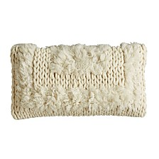 White Tribal Pillow with Plush Fringe