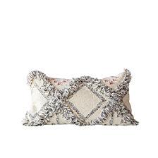 Cream Kilim Pillow w/Grey Fringe Accents