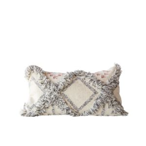 Image of Cream Kilim Pillow w/Grey Fringe Accents