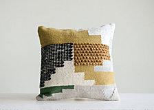 White Pillow w/ Yellow, Green and Black Accents