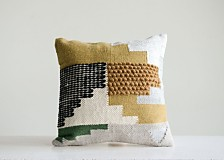White Pillow with Yellow, Green and Black Accents