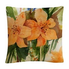 "Tiger Lilies Orange Modern 16x16"" Decorative Throw Pillow by Sheila Golden"