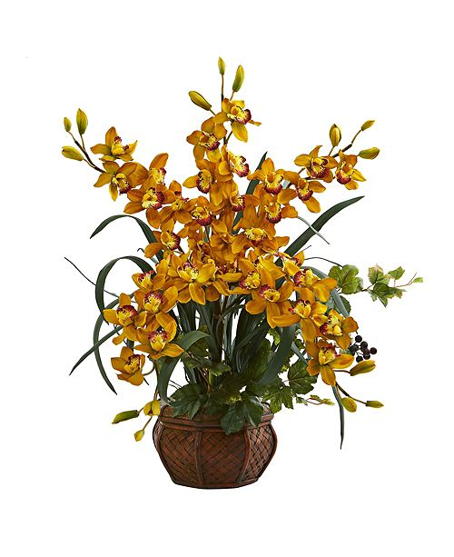 Nearly Natural Cymbidium Orchid Artificial Arrangement in Planter