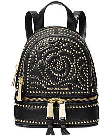 Michael Kors Rhea Mini Zip Studded Convertible Backpack