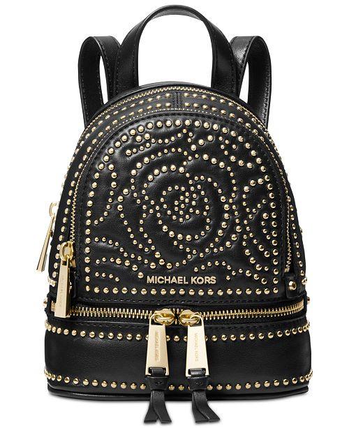 80786fdba933 Michael Kors Rhea Mini Zip Studded Convertible Backpack   Reviews ...