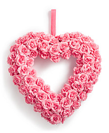 Martha Stewart Collection Valentine's Day Heart-Shaped Artificial Pink Rose Wreath, Created for Macy's