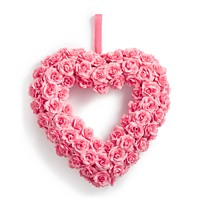 Martha Stewart Collection Valentine's Day Heart-Shaped Artificial Pink Rose Wreath
