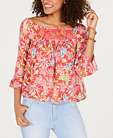 Roxy Juniors' Off-The-Shoulder Smocked Top