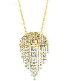 """Steve Madden Silver-Tone Crystal Fringe 34"""" Pendant Necklace"""