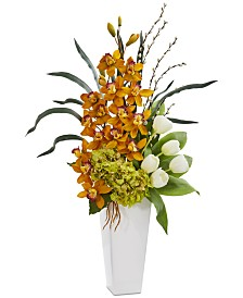 Nearly Natural Cymbidium Orchid, Hydrangea & Tulip Artificial Arrangement
