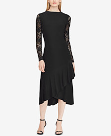 Lauren Ralph Lauren Lace-Sleeve Midi Dress, Created for Macy's