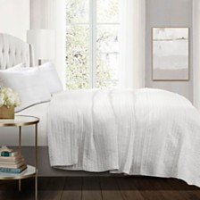 Pom Pom Stripe 3-Piece White Quilt Sets