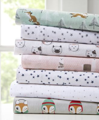 Cozy Soft Twin Cotton Novelty Print Flannel Sheet Set