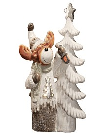 """National Tree 24"""" Moose standing by Tree with Battery Operated LED Lights"""