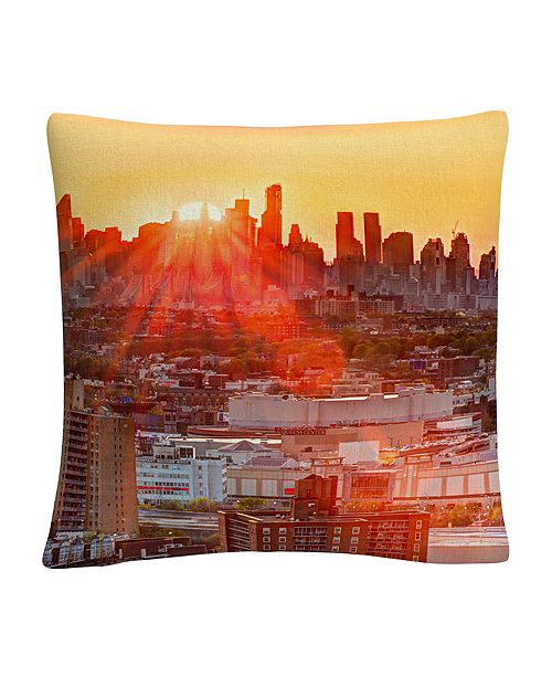 "Baldwin Midtown Sunset Orange Cityscape 16x16"" Decorative Throw Pillow by Masters Fine Art"