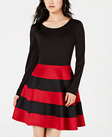 City Studios Juniors' Striped Scuba Fit & Flare Dress