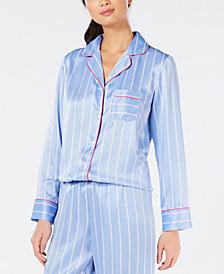 Charter Club Notch-Collar Printed Pajama Top, Created for Macy's