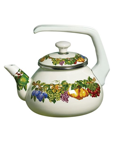 Tabletops Unlimited Kensington Garden Porcelain Enamel 2 Qt Teakettle