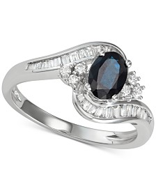 Sapphire (1 ct. t.w.) & Diamond (3/8 ct. t.w.) Ring in 14k White Gold (Also in Emerald)