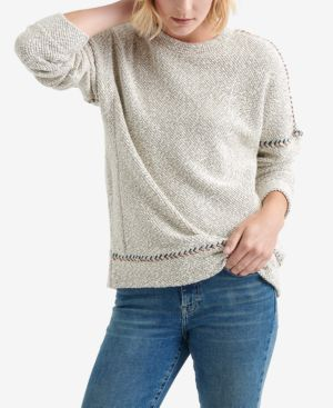 LUCKY BRAND Embroidered Trim Textured Sweater in White