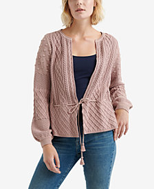 Lucky Brand Mixed-Pattern Tie-Waist Cardigan