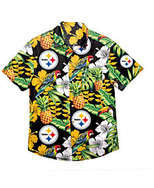 Forever Collectibles Men's Pittsburgh Steelers Floral Camp Shirt