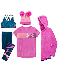 Under Armour Big Girls Double-Pom Hat, Fleece Hoodie , Logo-Print T-Shirt, HeatGear® Sports Bra & Knit Leggings