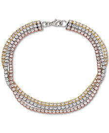 Cubic Zirconia Tri-Color Triple Band Tennis Bracelet in 18K Gold-Plated Sterling Silver