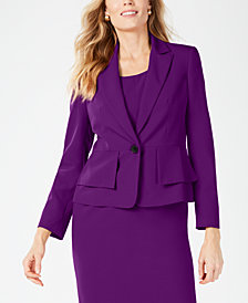 Kasper One-Button Crepe Blazer