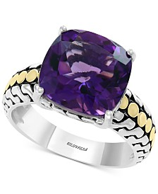 EFFY® Amethyst (5-3/8 ct. t.w.) Statement Ring in Sterling Silver & 18k Gold
