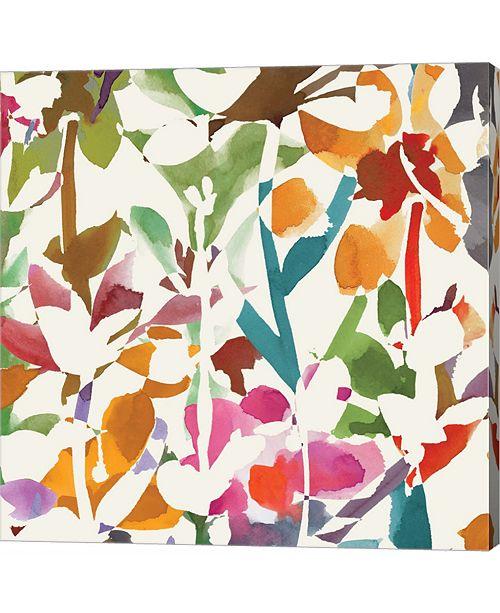 Metaverse Pink Garden Square II White by Wild Apple Portfolio Canvas Art