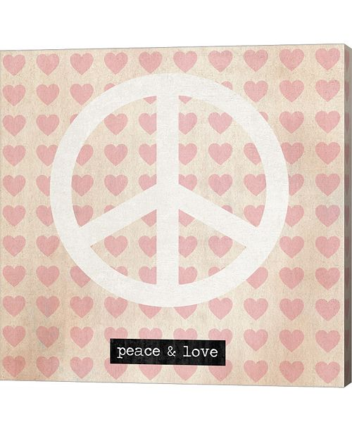 Metaverse Peace - Pink Hearts by Louise Carey Canvas Art