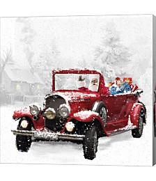 Santa's Red Classic Car by Dbk-Art Licensing Canvas Art