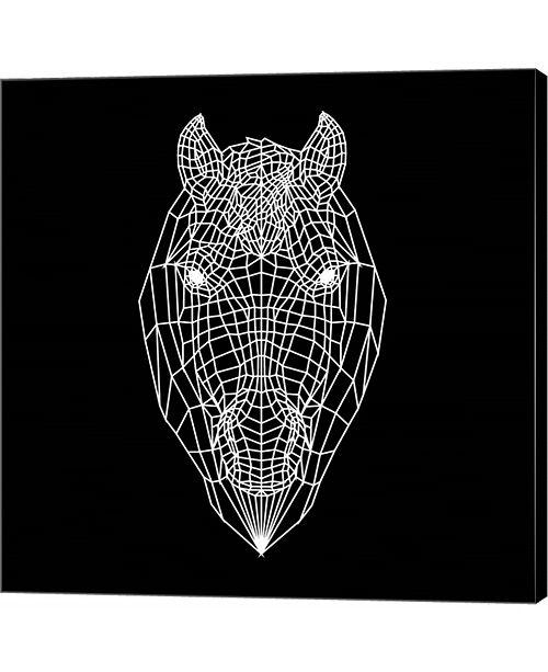 Metaverse Horse Head Black Mesh by Lisa Kroll Canvas Art