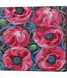 Six Pink Poppies by Li Bo Canvas Art