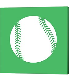 White Softball on Green by Sports Mania Canvas Art
