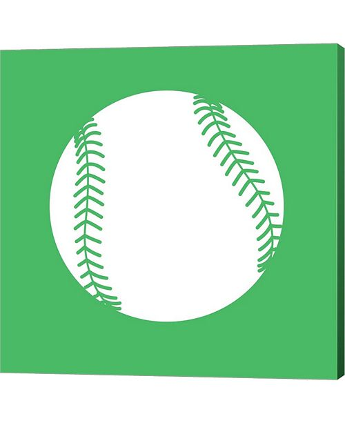 Metaverse White Softball on Green by Sports Mania Canvas Art