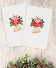 CLOSEOUT!  Linum Home Christmas Bells 100% Turkish Cotton 2-Pc. Hand Towel Set