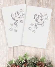Christmas Dove 100% Turkish Cotton 2-Pc. Hand Towel Set