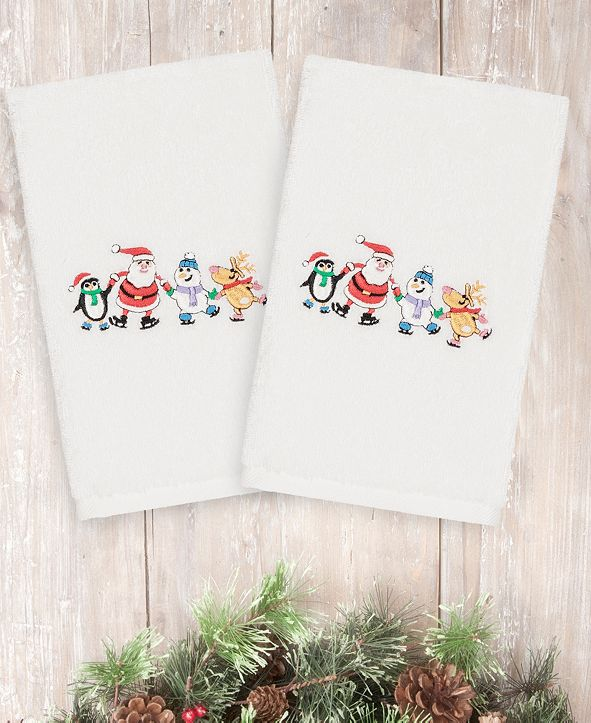 Linum Home CLOSEOUT!  Christmas Skating Party 100% Turkish Cotton 2-Pc. Hand Towel Set