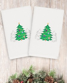 CLOSEOUT! Linum Home Christmas Three Trees 100% Turkish Cotton 2-Pc. Hand Towel Set