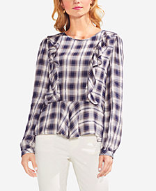Vince Camuto Plaid Ruffled Top