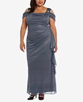 bb94a451c5d R   M Richards Plus Size Draped Cold-Shoulder Gown