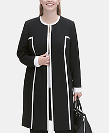 Calvin Klein Plus Size Piped Longline Jacket