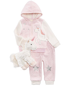 First Impressions Baby Girls Plush Unicorn, Unicorn Hoodie & Jogger Pants, Created for Macy's